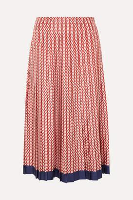 Valentino Pleated Printed Silk-twill Midi Skirt - Red