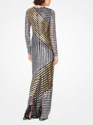Michael Kors Stripe Sequined Stretch-Tulle Gown