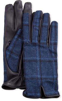63fdb470ed765 Etro Men's Plaid-Back Leather Gloves