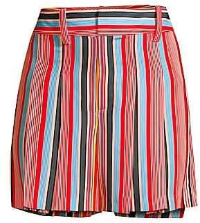 Alice + Olivia Women's Scarlet Striped Flutter Shorts - Size 0