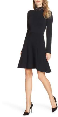 Eliza J Jeweled Mock Neck Fit & Flare Sweater Dress
