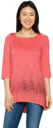 Belle By Kim Gravel Belle by Kim Gravel Sequin Cold Shoulder Knit Tunic
