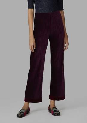 Giorgio Armani Chenille Palazzo Trousers With Two-Tone Stripes