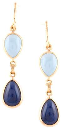Tresor Collection Aquamarine & Blue Sapphire Pear Shaped Earring In 18K Yellow Gold