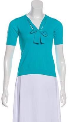 Emilio Pucci Rib Knit Short Sleeve Sweater
