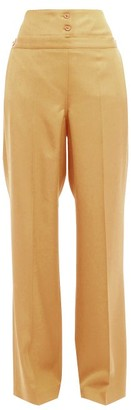 Jil Sander Greg High Rise Cotton Trousers - Womens - Beige