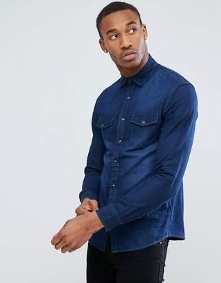 Celio Denim Shirt In Dark Wash Blue