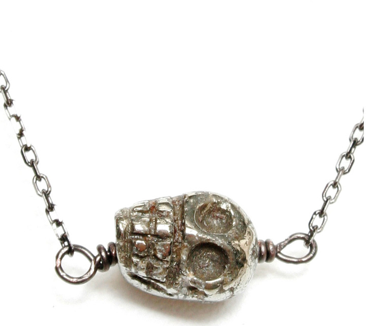 Soixante Neuf Sideways Pyrite Skull Necklace