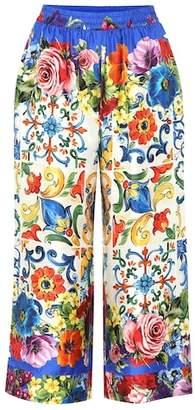 Dolce & Gabbana Printed silk cropped pants