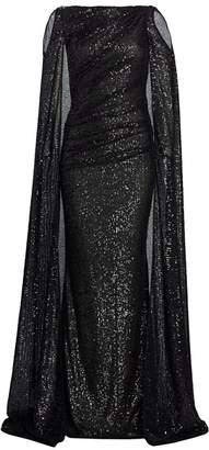 Talbot Runhof Matrix Micro Sequin Cold-Shoulder Cape Gown