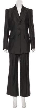 Richard Tyler Wool Structured Blazer Pantsuit