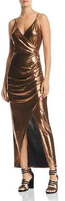 WAYF Sonnie Metallic Ruched Maxi Dress