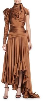 Zimmermann Valiant Ruched One-Shoulder High-Low Dress