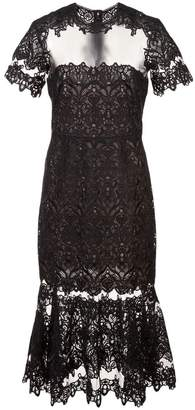 Jonathan Simkhai Guipure Lace Sheer Ruffle Dress