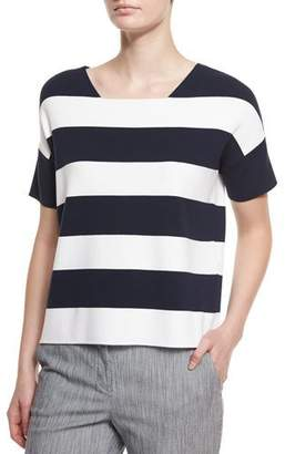 Armani Collezioni Short-Sleeve Wide-Stripe Tee, Astral Multi
