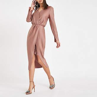 River Island Pink wrap front long sleeve midi dress