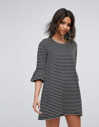 Vero Moda Stripe Shift Dress With Fluted Sleeve