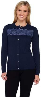 Liz Claiborne New York Cardigan with Lace Detail and Shell Buttons