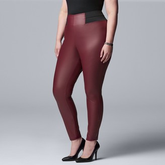 Vera Wang Plus Size Simply Vera High Rise Faux Leather Legging