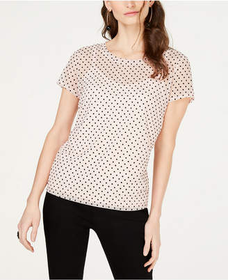 INC International Concepts I.N.C. Illusion-Dot Short-Sleeve Top, Created for Macy's