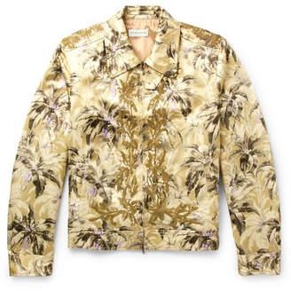 Dries Van Noten Sequinned Printed Satin Blouson Jacket