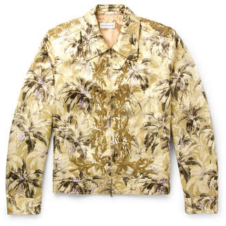 Dries Van Noten Valerian Sequinned Printed Satin Blouson Jacket