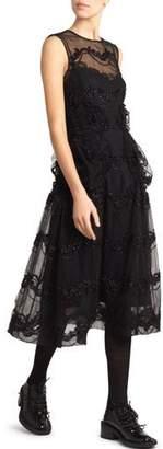 Simone Rocha Smocked Tulle Illusion Dress