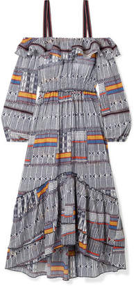Lemlem Kente Lisa Cold-shoulder Canvas-trimmed Printed Cotton-gauze Maxi Dress - Navy