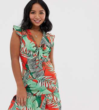 Parisian Petite tie front dress in tropical floral print
