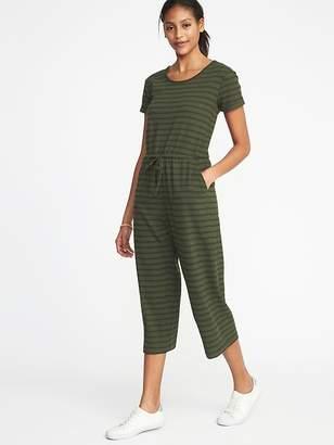 Old Navy Waist-Defined Wide-Leg Bouclé-Jersey Jumpsuit for Women