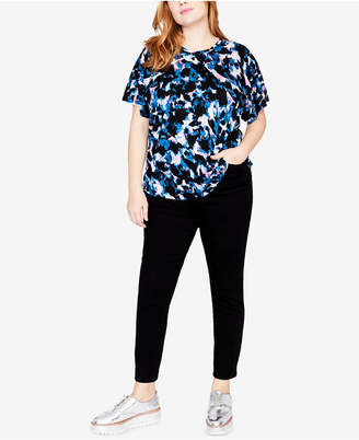 Rachel Roy Trendy Plus Size Printed Batwing-Sleeve Top