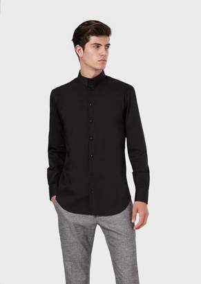 Emporio Armani Poplin Shirt With Button-Down Collar