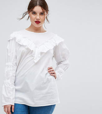 Asos Cotton Top with Frill Detail & Ruched Sleeve