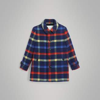 Burberry Check Double-faced Wool Coat , Size: 12Y, Blue