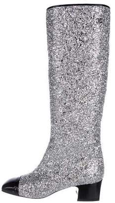 Chanel Glitter Knee-High Boots