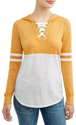 No Boundaries Juniors' Colorblock Varisty Stripe Lace-Up Hoodie
