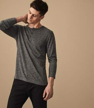 Reiss MAC LONG SLEEVED HENLEY TOP Grey