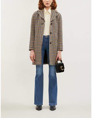 Claudie Pierlot Houndstooth-patterned wool-blend coat