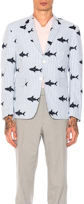 Thom Browne Seersucker Shark Embroidery Blazer $3,290 thestylecure.com