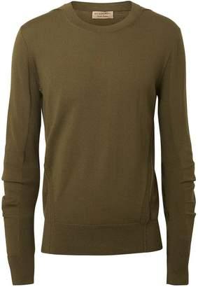 Burberry Rib Knit Detail Merino Wool Sweater