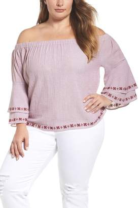 Lucky Brand Embroidered Off the Shoulder Top (Plus Size)