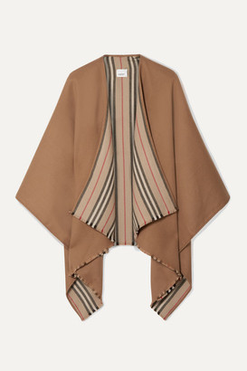Burberry Reversible Striped Wool Wrap - Camel