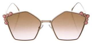 Fendi Embellished Geometric Sunglasses w/ Tags