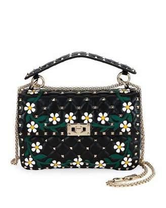 Valentino Spike.It Medium Flower Leather Shoulder Bag