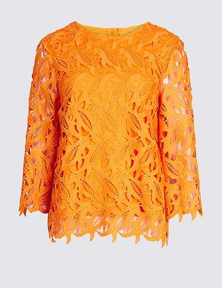 Marks and Spencer Lace Round Neck 3/4 Sleeve Blouse