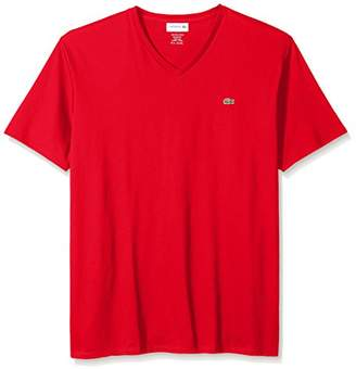 Lacoste Men's Short Sleeve V Neck Pima Jersey Shirt T-Shirt