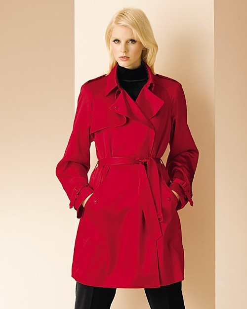 AK Anne Klein Double Breasted Satin Trench Coat - Misses'