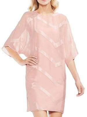 Vince Camuto Zen Bloom Sheer Dolman-Sleeve Dress