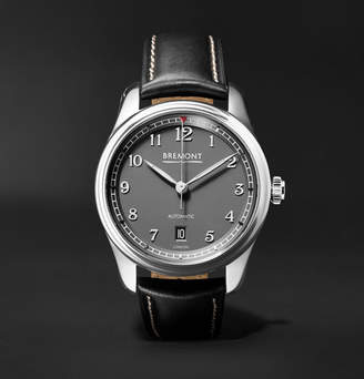 Bremont - Airco Mach 2 40mm Stainless Steel and Leather Watch - Gray