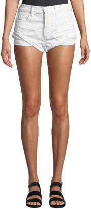 Alexander Wang Hike Rolled Distressed Denim Shorts